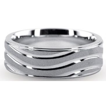 Platinum 950 6.5mm Diamond Cut Wedding Band 709