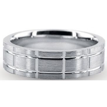 Platinum 950 6mm Diamond Cut Wedding Band 714