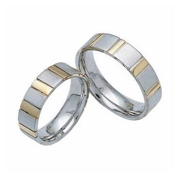 950 Platinum and 18k Gold His & Hers Two Tone Wedding Band Set 010