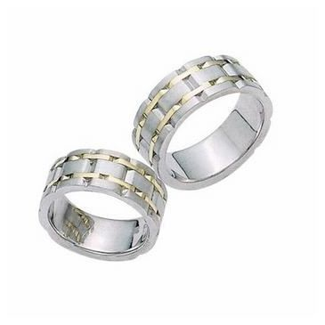 950 Platinum and 18k Gold His & Hers Two Tone Wedding Band Set 013