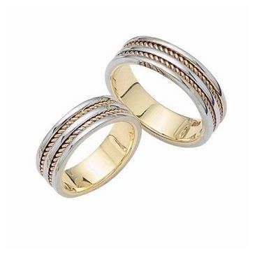 18k His & Hers Two Tone Gold 021 Wedding Band Set HH02118K