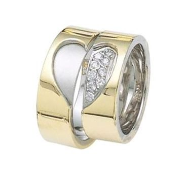 950 Platinum and 18K Gold His & Hers Two Tone Gold 0.24ctw Diamond Wedding Band Set 002