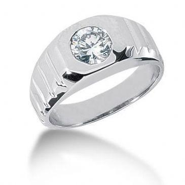 Men's 18K Gold Diamond Ring 1 Round Stone 1.00 ctw 10018-MDR1073