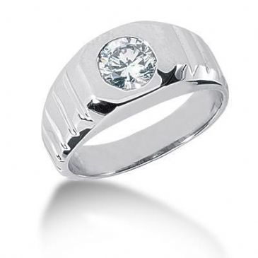 Men's Platinum Diamond Ring 1 Round Stone 1.00 ctw 100PLAT-MDR1073