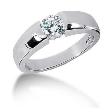 Men's 18K Gold Diamond Ring 1 Round Stone 0.85 ctw 10218K-MDR1055
