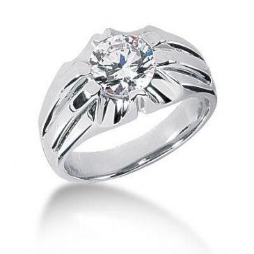 Men's 18K Gold Diamond Ring 1 Round Stone 1.50 ctw 10318-MDR1025