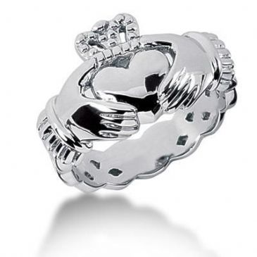 Men's Platinum Irish Claddagh Ring 104PLAT-MDR1011