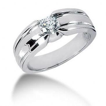 Men's 18K Gold Diamond Ring 1 Round Stone 0.75 ctw 10518-MDR1118