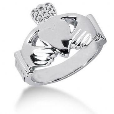 Men's Platinum Irish Claddagh Ring 106PLAT-MDR114
