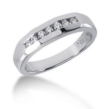 Men's 18K Gold Diamond Ring 7 Round Stone 11018-MDR1247