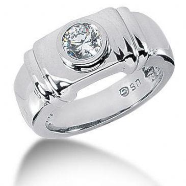 Men's 18K Gold Diamond Ring 1 Round Stone 11118-MDR1084
