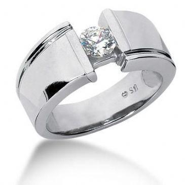 Men's 18K Gold Diamond Ring 1 Round Stone 11218-MDR334