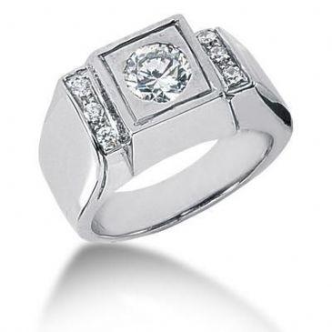 Men's 18K Gold Diamond Ring 1 Round Stone 11818-MDR1004