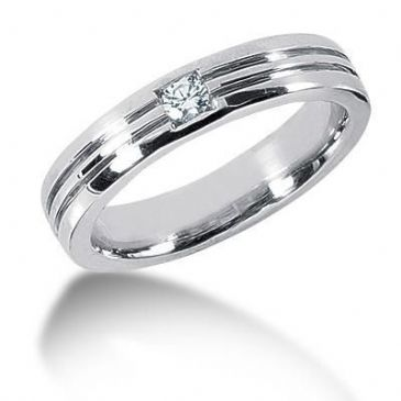 Men's 18K Gold Diamond Ring 1 Round Stone 11918-MDR1021