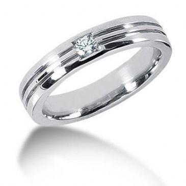 Men's Platinum Diamond Ring 1 Round Stone 119PLAT-MDR1021