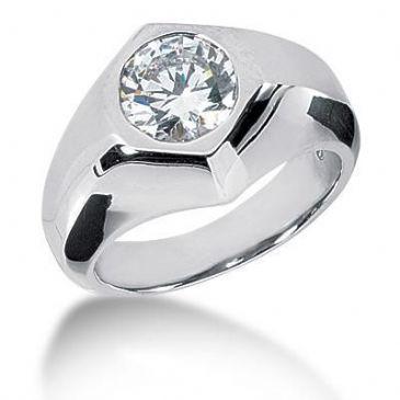 Men's 18K Gold Diamond Ring 1 Round Stone 2.50 ctw 12018-MDR1140