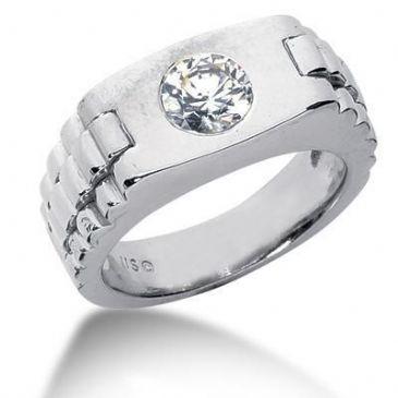 Men's 18K Gold Diamond Ring 1 Round Stone 1.00 ctw 12118-MDR1310