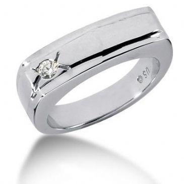Men's 18K Gold Diamond Ring 1 Round Stone 0.10 ct 12218-MDR1135