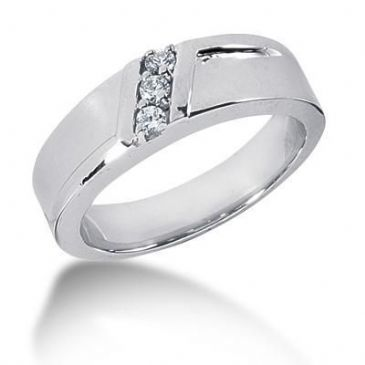 Men's Platinum Diamond Ring 3 Round Stone 0.15 ctw 123PLAT-MDR1193
