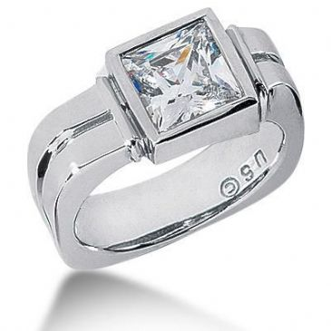 Men's Platinum Diamond Ring 1 Princess Diamond 2.51 ctw 124PLAT-MDR1296