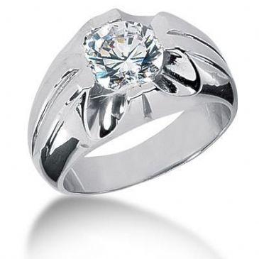 Men's 18K Gold Diamond Ring 1 Round Stone 2.50 ctw 12518K-MDR1227