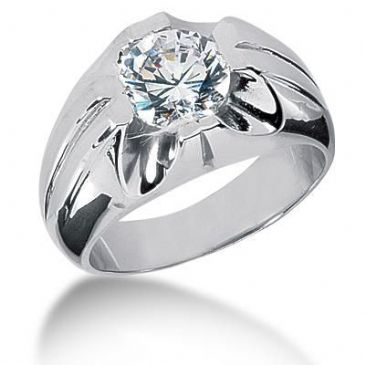 Men's Platinum Diamond Ring 1 Round Stone 2.50 ctw 125PLAT-MDR1227