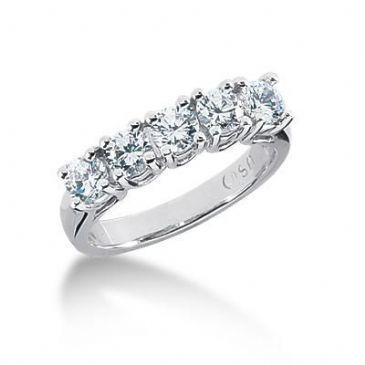 950 Platinum Diamond Anniversary Wedding Ring 5 Round Brilliant Diamonds 1.25ctw 102WR1203PLT