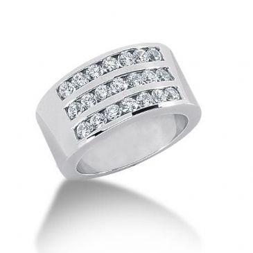 18K Gold Diamond Anniversary Wedding Ring 21 Round Brilliant Diamonds 1.05ctw 108WR28918K