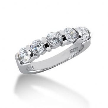 950 Platinum Diamond Anniversary Wedding Ring 5 Round Brilliant Diamonds 1.25ctw 109WR300PLT