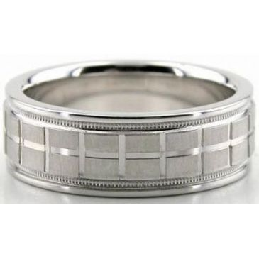 18K Gold 7mm Diamond Cut Wedding Band 610