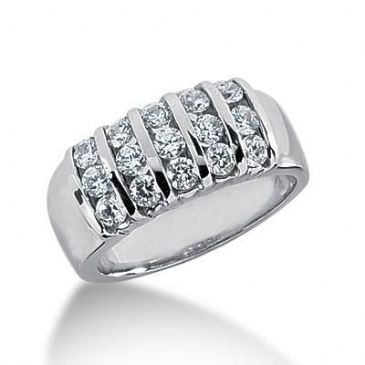 18K Gold Diamond Anniversary Wedding Ring 15 Round Brilliant Diamonds 1.05ctw 110WR128918K