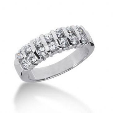 18K Gold Diamond Anniversary Wedding Ring 14 Round Brilliant Diamonds 0.70ctw 111WR127318K