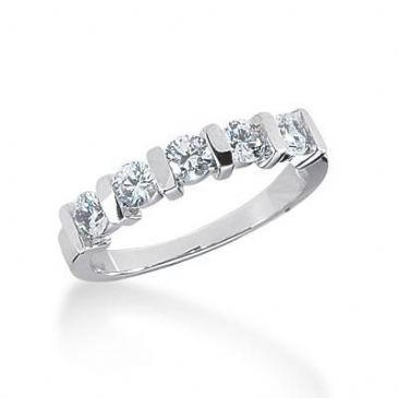 18K Gold Diamond Anniversary Wedding Ring 5 Round Brilliant Diamonds 0.75ctw 113WR222418K