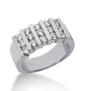 18K Gold Diamond Anniversary Wedding Ring 15 Round Brilliant Diamonds 0.90ctw 114WR220518K