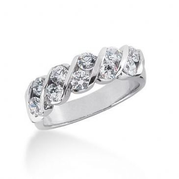 18K Gold Diamond Anniversary Wedding Ring 10 Round Brilliant Diamonds 1.00ctw 116WR130518K