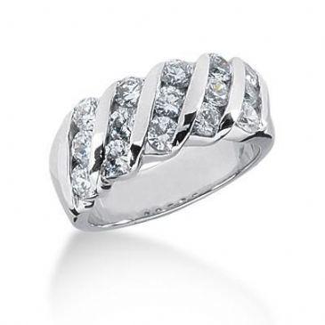 18K Gold Diamond Anniversary Wedding Ring 15 Round Brilliant Diamonds 1.50ctw 117WR131318K