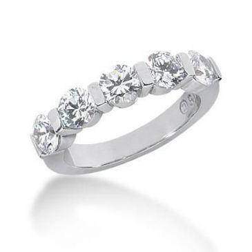 950 Platinum Diamond Anniversary Wedding Ring 5 Round Brilliant Diamonds 1.75ctw 118WR165PLT