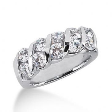 950 Platinum Diamond Anniversary Wedding Ring 10 Round Brilliant Diamonds 2.00ctw 119WR235PLT