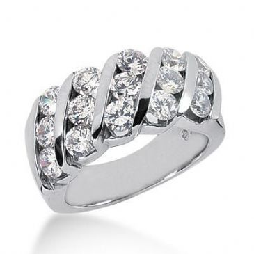 18K Gold Diamond Anniversary Wedding Ring 15 Round Brilliant Diamonds 3.00ctw 120WR23618K