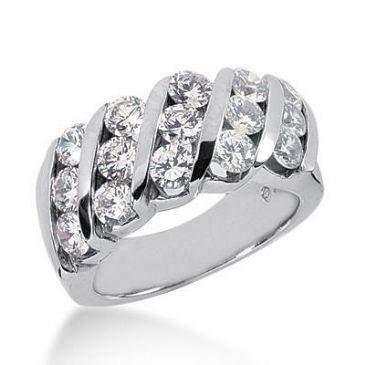 950 Platinum Diamond Anniversary Wedding Ring 15 Round Brilliant Diamonds 3.00ctw 120WR236PLT
