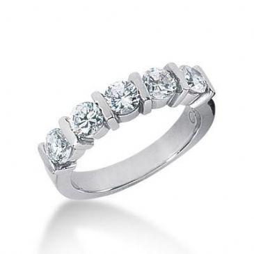 950 Platinum Diamond Anniversary Wedding Ring 5 Round Brilliant Diamonds 1.25ctw 121WR176PLT