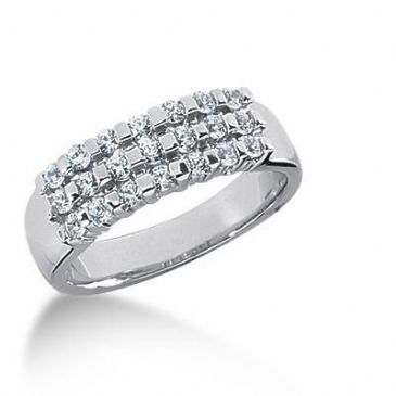 18K Gold Diamond Anniversary Wedding Ring 21 Round Brilliant Diamonds 0.53ctw 123WR126618K