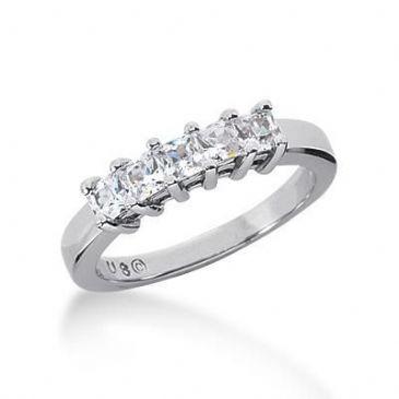 18K Gold Diamond Anniversary Wedding Ring 5 Princess Cut Diamonds 0.8ctw 124WR22818K