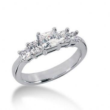 18K Gold Diamond Anniversary Wedding Ring 5 Princess Cut Diamonds 1.11ctw 125WR158918K