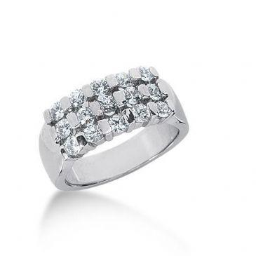 18K Gold Diamond Anniversary Wedding Ring 15 Round Brilliant Diamonds 1.05ctw 126WR124518K