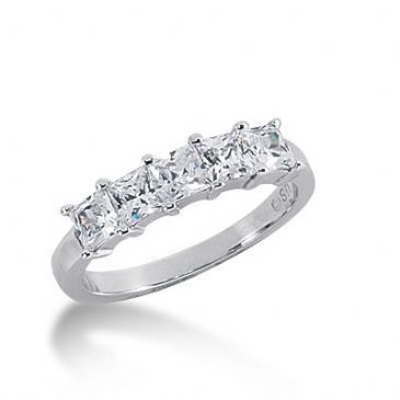 950 Platinum Diamond Anniversary Wedding Ring 5 Princess Cut Diamonds 1.40ctw 127WR250PLT