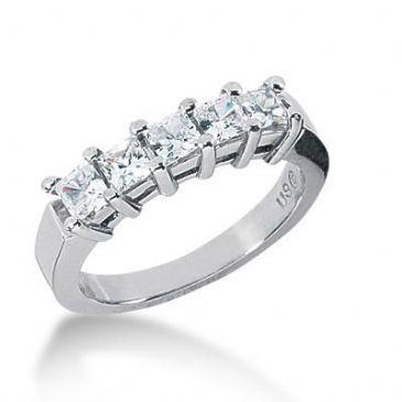 18K Gold Diamond Anniversary Wedding Ring 5 Princess Cut Diamonds 1.00ctw 128WR18218K