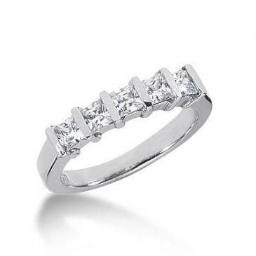 18K Gold Diamond Anniversary Wedding Ring 5 Princess Cut Diamonds 0.8ctw 129WR66618K
