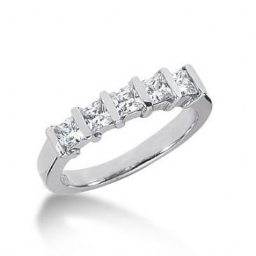 950 Platinum Diamond Anniversary Wedding Ring 5 Princess Cut Diamonds 0.80ctw 129WR666PLT