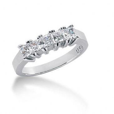 18K Gold Diamond Anniversary Wedding Ring 5 Princess Cut Diamonds 0.85ctw 130WR36418K